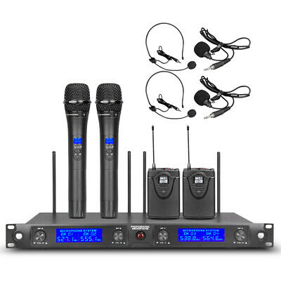 Pro Audio UHF Wireless Microphone System 4 Channel 4 handheld 4 Lavalier Headset