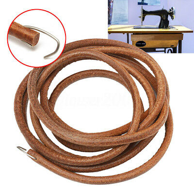 "NWE72"" 183cm Leather Belt Antique Treadle Parts + Hook For Singer Sewing Machine"