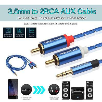 3.5mm Jack Male to 2 RCA Male Earphone Aux Audio Splitter Cable Amplifier Phone
