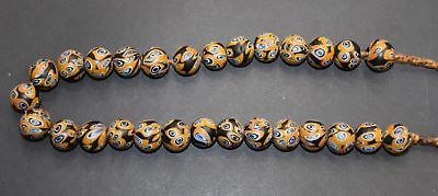 """Rare Chinese Qing Dy Old """"Liu Li"""" Glaze Carved 28 Bead """"Necklace"""" L 1.7 CM"""