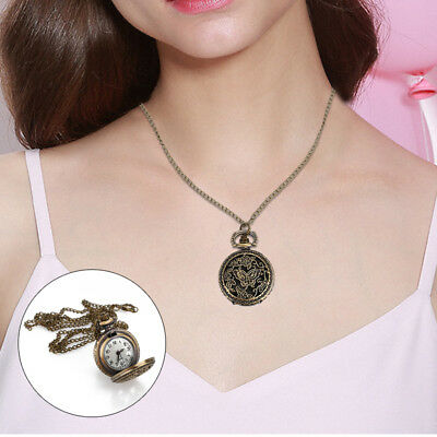 E142 Pocket Watch Retro Vintage Butterfly Antique Hanging Chain Necklace Chain