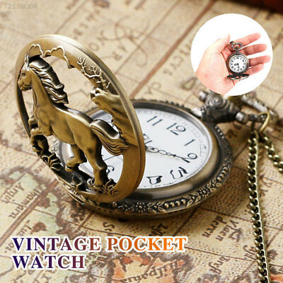 CA87 Pocket Watch Retro Horse Copper Pendant Necklace Hanging Chain
