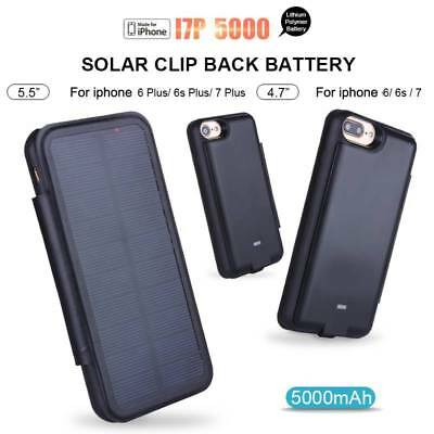 External Solar Case Power Bank For iPhone 6 6S 7 Plus Battery Charger Cover