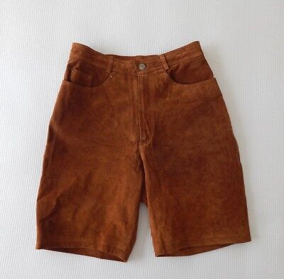 Vintage HOLLIES Tan Genuine Leather / Suede High Waist SHORTS 8 10