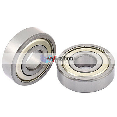 2Pcs 6303Z 19x46x13.5 mm Metal Sealed Double Shielded Deep Groove Ball Bearing