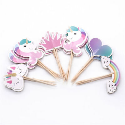 24pcs Unicorn Party Cupcake Topper Birthday Party Paper Cake Toppers Supplies