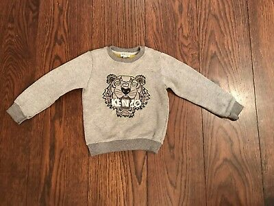 Kenzo Boys Grey Embroided Tiger Jumper Top - Size Age 4 - 100% Genuine