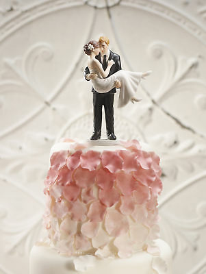 Wedding Cake Topper Hand Painted Porcelain Swept Up In His Arms