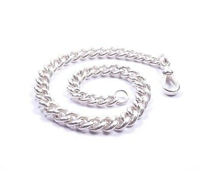 """Antique Graduated Albert Chain Heavy Solid 925 Sterling Silver 58.4grams 12"""""""