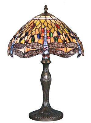 Dragonfly Tiffany Stained Glass Handmade Table Lamps Size 12'' - Christmas Gift