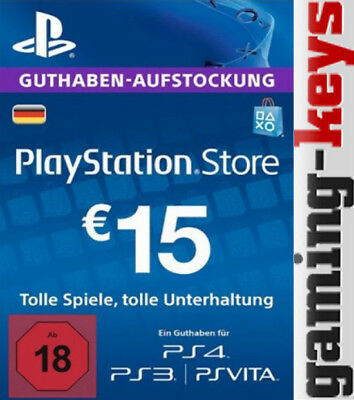 15 EUR DE PlayStation Network Card - PSN PS4 PS Vita 15€ Euro Guthaben DE