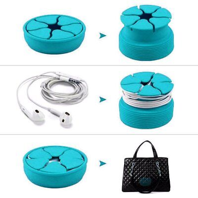 Silicone Mini Earphone Holder Carrying Case Winder Stretch Earbud Storage R3