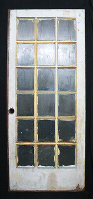 "35""x84""x1.75 Antique Vintage Exterior Entry French Wood Wooden Door Window Glass"