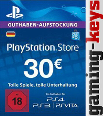 30 EUR DE PlayStation Network Card - PSN PS4 PS Vita 30€ Euro Guthaben DE
