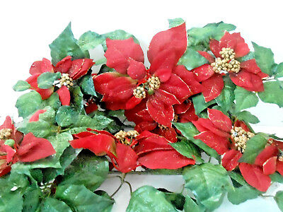 """Home Interiors Long Red Swag Poinsettia About 22"""" Green Gold Set Of 3 Preowned"""