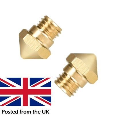2 Pieces Mk10 Brass .4mm  M7 thread nozzle for Dremel, ​Wanhao, Flashforge etc