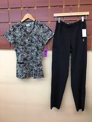 NEW Black Print Scrubs Set With Med Couture XS Top & Vera Bradley XS Pants NWT