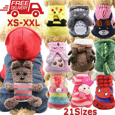 XS-XXL Pets Dog Cat Clothes Warm Jacket Coat Hoodie Sweater Costume Apparel Four