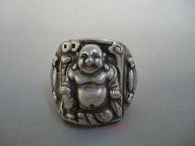 Superb Collect Old China Tibet Silver Handmade Happy Maitreya Buddha Statue Ring