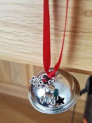 Polar Express large silver jingle bell baby's first xmas tree decoration