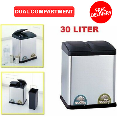 Trash Can 8 Gallon 30 Liter Stainless Steel Dual Compartment Recycling Bin