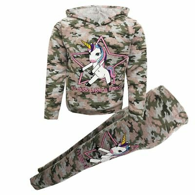 Girls Kids Unicorn Camouflage 'Floss Like A Boss' Top Leggings 7 8 9 10 11 12 13