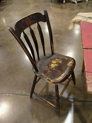 4 Primitive Stenciled Plank Bottom Chairs
