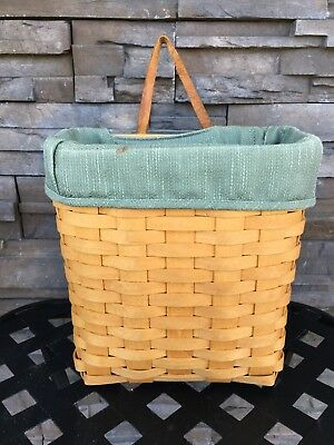 Longaberger 2001 Tall Key Basket with Sage Green Liner Protector & Leather Strap
