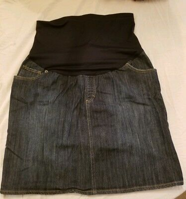 Liz Lange Maternity Skirt Size L  Denim 3 in 1 Flex Panel
