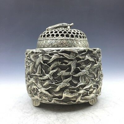 Collection Ancient Chinese Tibet silver censer Carving Bainiaozhaofeng  a511
