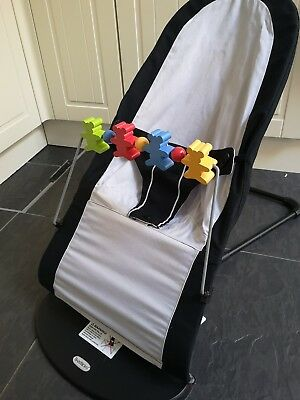 Baby Bjorn Bouncer Chair in Black / Grey with wooden toy bar