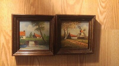 """(2) Mid 20th Century Oil On Board 6"""" x 6"""" Paintings Signed"""