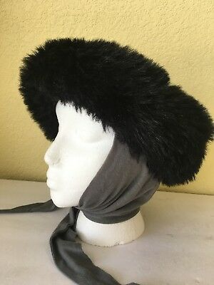 Vintage Betmar Womens Black Gray Hat Attached Scarf Tie Faux Fur Trim Winter  USA 180c0cae457a
