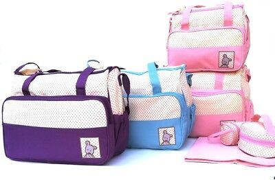 Personalised 5pcs Baby Nappy Changing Bag Set Diaper Shoulder Handbag Travel UK