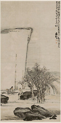 Chinese old scroll painting Old man playing zither for his friend by Huang Shen