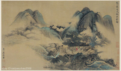 Chinese old scroll painting Mountain landscape To visit old friend from far