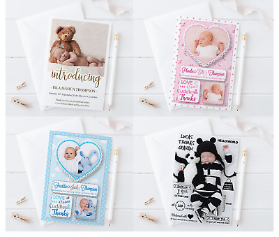 Personalised New Baby Thank You Cards Birth Announcement Girl Boy Pink Blue Env
