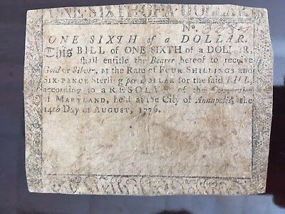 1776 Maryland Colonial Currency * One-Sixth (1/6) Dollar * Nice * 242 Years Old