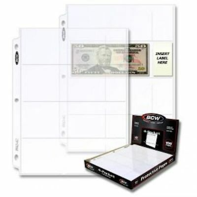 BCW Pro-4 Pocket currency Album Pages - 1 Box - 100 pages ** COMBINED SHIPPING**