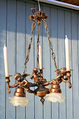 French 1950 spelter brass Angels putti cherubs chandelier candleholder 3 arms