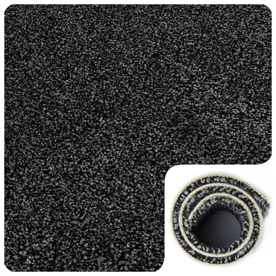 HARDWEARING Black Grey Felt Back Twist Pile 4m Wide Carpet Remnant/Roll End