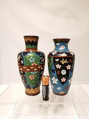 Superb Pair of 19th/20thC Japanese/Chinese Antique Cloisonne Miniture vases 1 AF