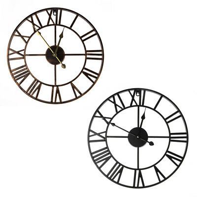 Vintage Retro European Style Rome Numbers Round Metal Hollow Wall Clock