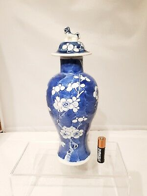 "Nice 19thC Chinese Antique Blue & White Prunus Baluster Vase 9"" Qing with lid AF"