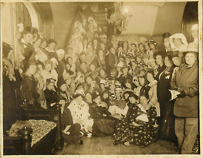 Halloween Party  Large  Real Original 8x10  Antique Photo 80 People  NO~RESERVe