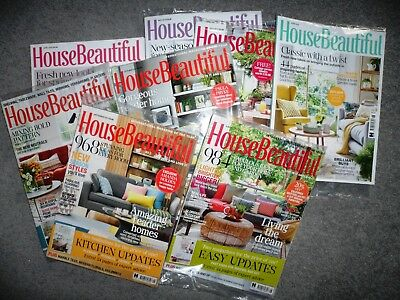 9 X House Beautiful Magazine Assorted Editions 2017 & 2018 ~ New ~ 8 Sealed