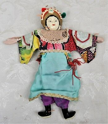 Vintage Mid Century Hand Made Chinese Doll Chalkware Head Cloth Body