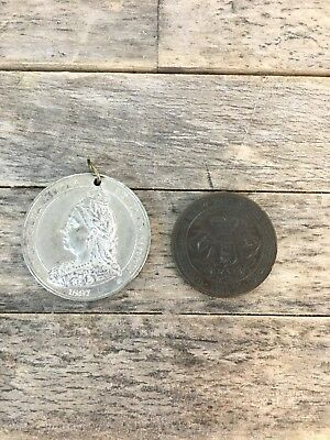 Pair Of Antique Queen Victoria 1897 Coronation Coins.