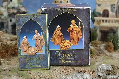 "5"" Fontanini Italian Nativity HOLY FAMILY SET 1991 - Depose Italy w/ Box & Story"