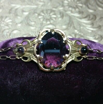 Vintage Antique Art Nouveau Faceted Amethyst Cabachon Brass Bracelet